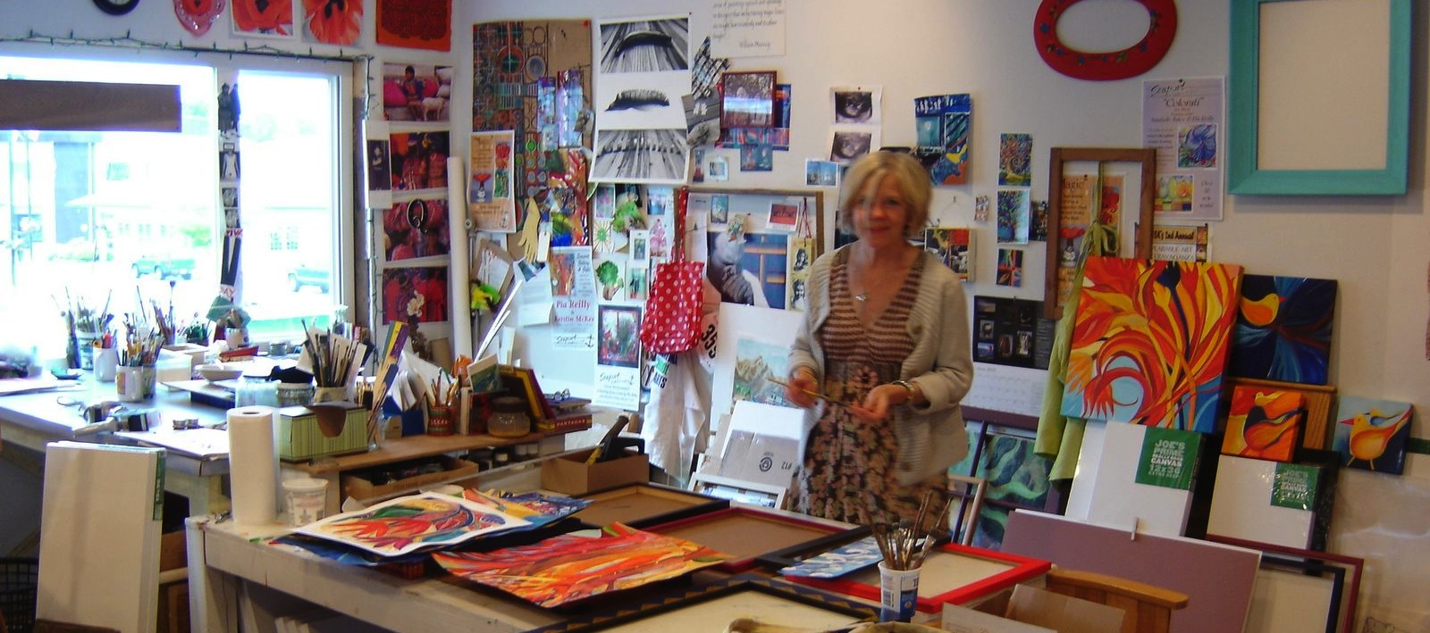 Back in Petersburg, in Pia's studio. Getting ready for the Juneau art show